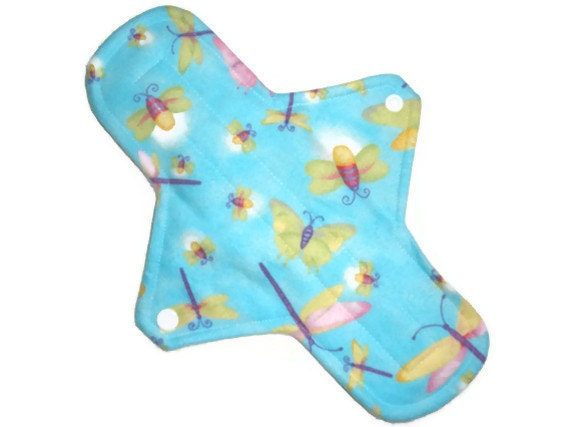 Maxi Reusable Cloth Menstrual Pad 11 inches long with PUL - Dragonflies and Butterflies