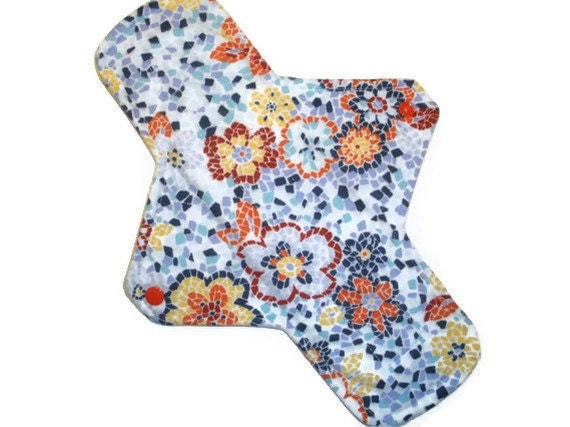 Cloth Menstrual Pad Maxi 11 inches long with PUL - Mosaic