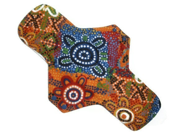Mosaic Flowers Postpartum Maxi  Cloth Menstrual Pad 14 inches long with PUL