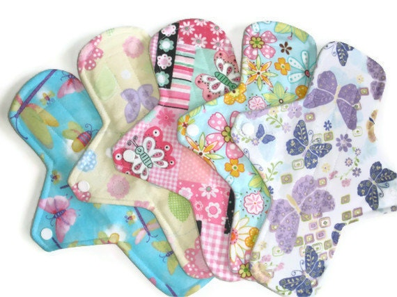 5 Piece REGULAR cloth menstrual pads 9 1/2  inches long with PUL - Springtime