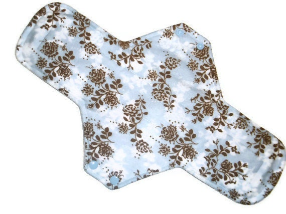 Postppartum Maxi  Cloth Menstrual Pad 14 inches long with PUL - Roses