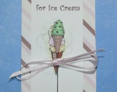 Polymer Clay Mint Chocolate Chip Ice Cream Cone Pin Topper
