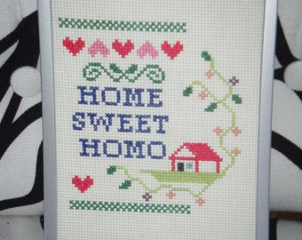 Gay Marriage Queer Wedding LGBT Housewarming Snarky Cross Stitch Sampler 5x7