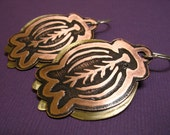 Etched copper and brass earrings No. 2