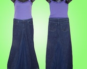 Custom DIY Long Denim BOHO Skirt Upcycled From Your Jeans