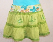 Upcycled Green Mini Skirt S M L Convertible Top Flower Power Ruffle