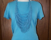 Upcycled T Shirt Necklace  Blue Stripes Scarf Accessory OOAK