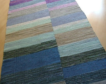 PURPLE BLOCKS -- Hand-woven extra-long purple, blue and gray rug (only one available)