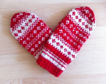 Hand-knit Scandinavian red and white mittens -- original design