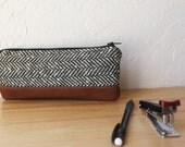 Pencil Pouch in Vintage Herringbone Wool and Leather