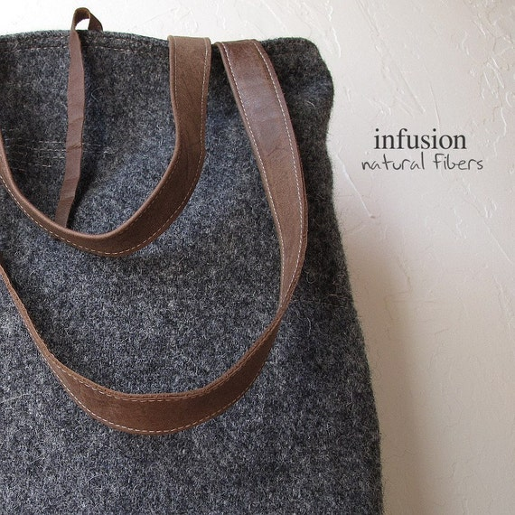 Wool and Leather Tote