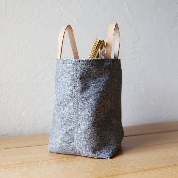 Reserved. Small Stash Tote in Vintage Gray Wool // Organic Cotton Lining // Leather Handles // Home Decor // Organizer