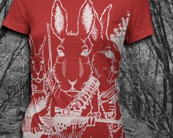 Rabbits with Guns - Womens  SoftstyleTshirt