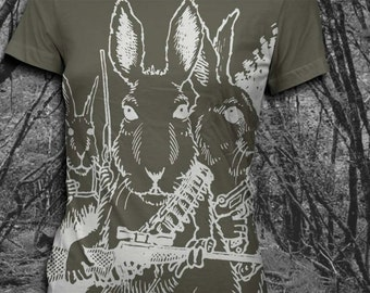 Rabbits with Guns - Womens Tshirt