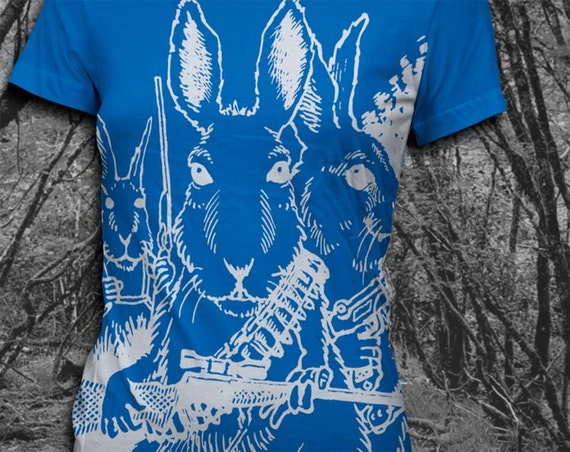 Rabbits with Guns Softstyle Cotton Womens Tshirt