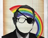 Harmless Man With Rainbow  - Collage Illustration Print on Handmade Watercolor Paper 20x30cm-8x12 inch