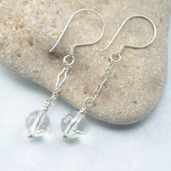 Faceted Rock Crystal Quartz Dangle Sterling Fancy Chain Earrings