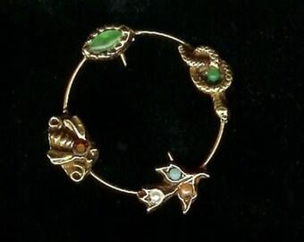 Vintage CIRCLE Pin Brooch snake, bee, tulip