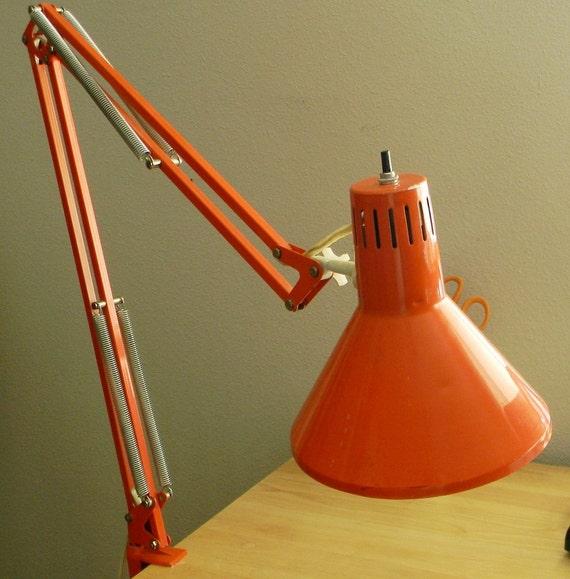 Vintage ORANGE Clamp Lamp