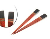 Handmade Wood Hair Sticks Bloodwood with Ebony Wood