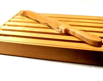 Handmade Slotted Bread Board and Bread Knife Cherry Wood