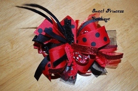 Red and Black Firecracker Big Girl Hair Bow