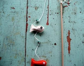 Fishie Sticks (Kitten or Cat toy), handmade