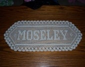 Custom Filet Crochet Name Doily - Up to 8 Letters