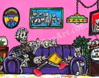 Day of the Dead Cat Lady Print