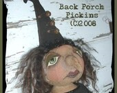 Bpp28 Folk Art Halloween Wicked Witch Primitive Doll e Pattern