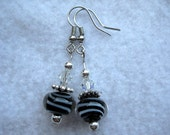Black with White Swirl Earrings