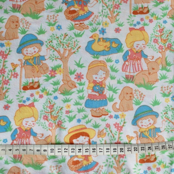 sale seventies vintage childrens fabric by frausvensson on