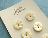 "Vintage Mother of Pearl Buttons - Set of 6 - 14mm Shimmering White on 1930's Schwanda Card - 1/2"" - PB0026"