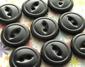 "Vintage Buttons - Set of 9 - 9/16"" Black Cats-Eye Plastic"