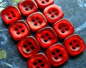 Vintage Buttons - Set of 12 - Glossy Metallic Ruby Red Plastic Square Small