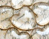 Clear Glass Heart Cabochons 25mm - Set of 15 - No Chips, Cracks or Scratches - Crystal Clear Colorless Glass