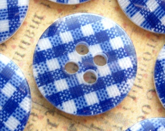 Blue and White Gingham Plastic Buttons - Set of 8 - 15mm Navy Blue and White Plaid Buttons