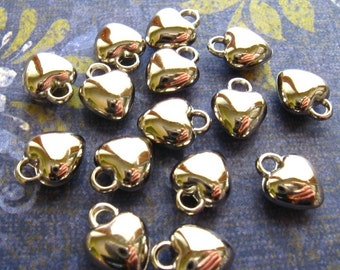 Silver Puffy Heart Charms - Set of 25 - Acrylic Glossy Bright Silver Finish 12mm x 10mm (SC0052)