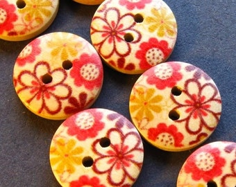 Wooden Flower Buttons - Set of 8 - 15mm Red Yellow Brown Light Finish Wood With Floral Motif