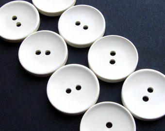 "White Vintage Buttons 19mm - Set of 8 - White Plastic With Cupped Edge 3/4"" (VB0030)"