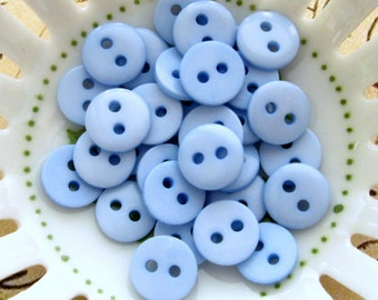 """Small Blue Buttons 9mm - Set of 20 - Tiny Blue Plastic Buttons 3/8"""""""