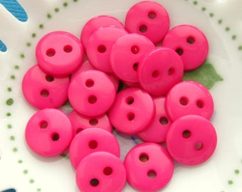 Small Fuchsia Buttons 9mm - Set of 20 - Tiny Fuchsia/Magenta/Pink Plastic Buttons 9mm