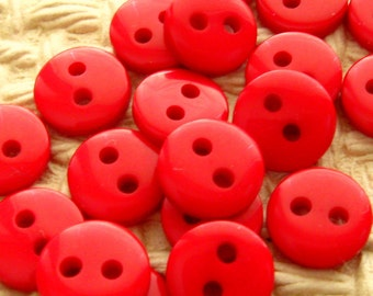 9mm Red Buttons - Set of 20 - Tiny Cherry Red Plastic Buttons 9mm