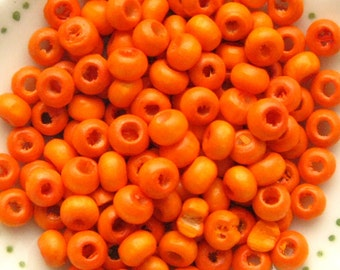Orange Wooden Beads - Set of 200 - 4mm Glossy Orange Wood Beads (WBD0005)