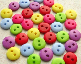 "Tiny Plastic Buttons - Set of 36 - 3/8"" (9mm) Rainbow Assortment"