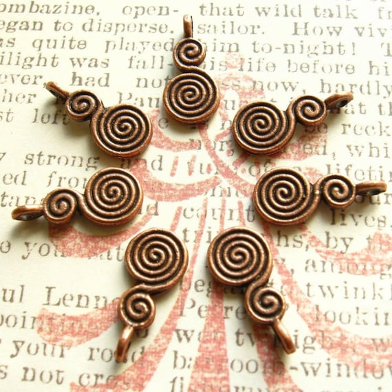 Charms / Pendants - Set of 7 - Antique Copper Finish Curlicue Charms - Dual Sided