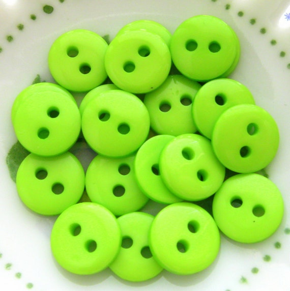 9mm Green Buttons - Set of 20 - Tiny Lime Green Plastic Buttons 9mm