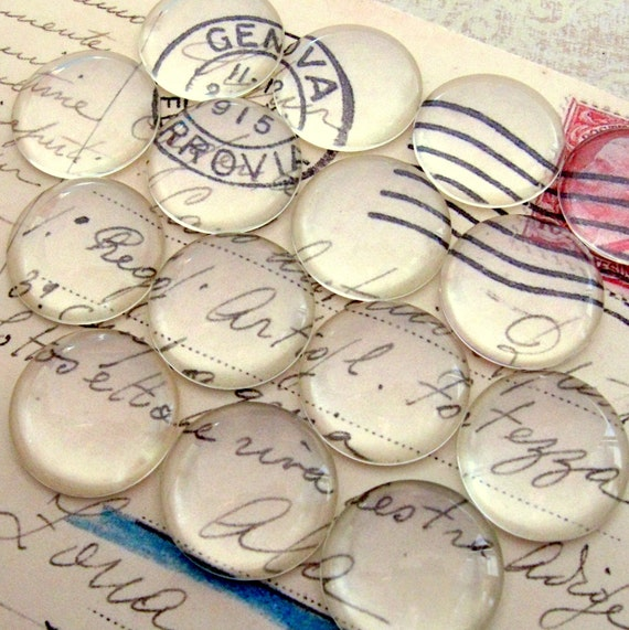 Clear Glass Cabochons - Set of 10 Rounded Top Circles - 18mm Hand-Cut and Fired - Crystal Clear Colorless Glass