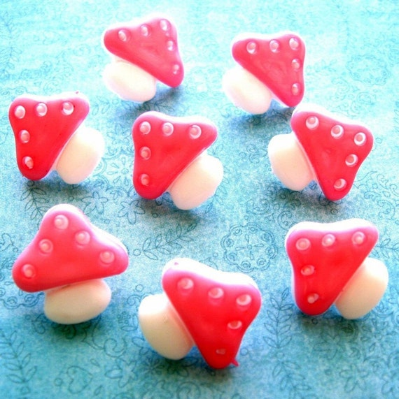 SALE - New Buttons - Set of 8 - Happy Little Pink and White Mushrooms