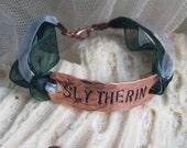 SLYTHERIN - hand-stamped copper bracelet